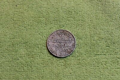 Vintage-Token-Coin-Medal-Skinner Mfg.-Omaha, Nebraska-Raisin Bran-Good For 5 C.