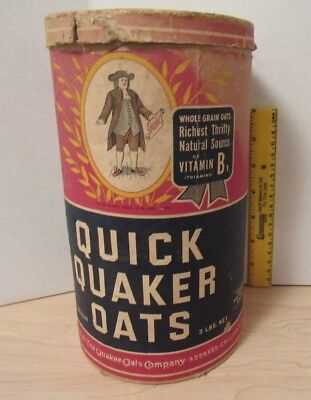 Vintage QUICK QUAKER OATS Cardboard Canister (Empty) Advertising