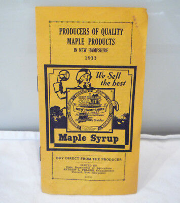 VTG 1933 NH Maple Syrup Advertising brochure Concord New Hampshire List of Men &