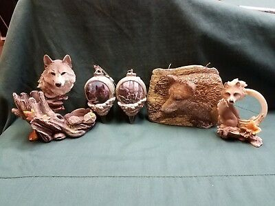 Wolf Collection , 2 Ornaments, Hand Detailed Candle,  2  Statues.