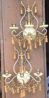 Antique vintage Italian carved wood beads & tassels pair candle sconces