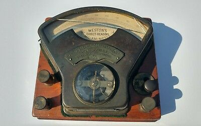 Vtg Weston's Direct-Reading Mil-Am-Meter Patented 1888/1890 Brass & Wood # 2558