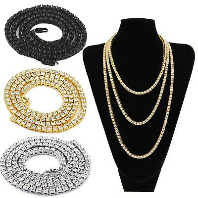 Men's Simulate Rhinestone Iced Out 1 Row 4MM Tennis Chain Hip-hop Style Necklace