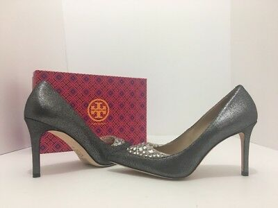 d8c61fc770e6 Tory Burch Delphine 85mm Pewter Women s Pointed Toe High Heel Pumps Size  8.5 M