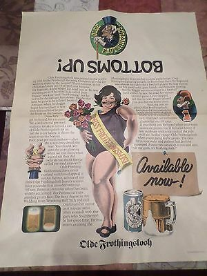 Very Rare Vintage 1969 Comedy Pin Up Model Olde Frothingslosh Beer Paper Poster