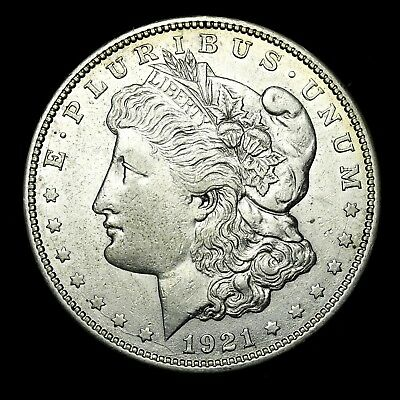 1921 D ~**ABOUT UNCIRCULATED AU**~ Silver Morgan Dollar Rare US Old Coin! #Y50