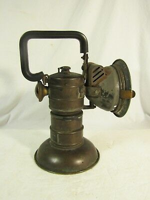 Vintage National Carbide Miner's or Railroad Lamp Lantern With Red Rear Light