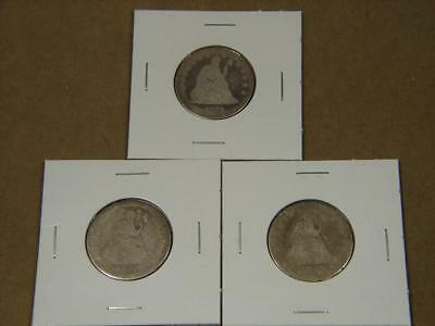 1853 1853 1876 Seated Liberty Quarter Silver Coin Lot Of 3