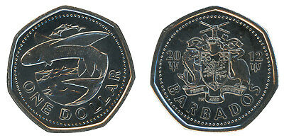Barbados 1 Dollar, 5.95 g Ni Plated Steel Coin, 2012,KM # 14.2a,Mint,Flying Fish