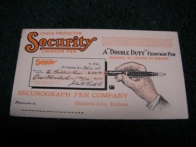 Vintage Security Fountain Pen Securograph Co Advertising Ink Blotter Check Pro