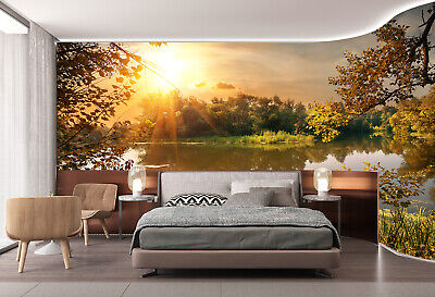 3d Sitting Room Bedroom Tv Background Wallpaper Sunset Swan In The