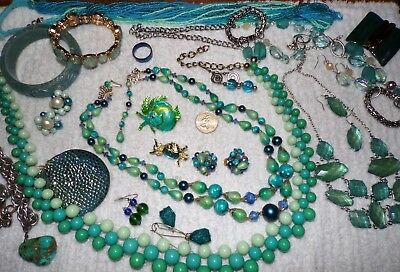 """VINTAGE Mixed Lot Of Jewelry """"BLUE/GREEN"""" ~ MJ, Gerry's Jelly Belly Owl, 3 Sets~"""