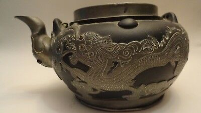 antique teapot yixing pottery chinese pewter dragon marked seal mark ols n/lid