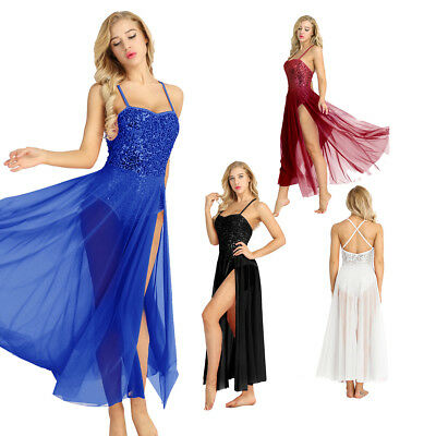 Women Sequin Modern Dance Lyrical Ballet Latin Long Maxi Dress Unitards Costumes