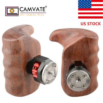 CAMVATE Wooden Handle Grip (left & right) with ARRI Rosette Mount for Camera Rig