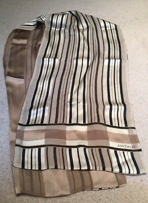 Ann Taylor Taupe/Mocha/Creme/Black Striped w/ Gold Thread Scarf Double Sided