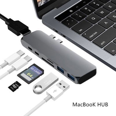 7 in 1 Type-C USB-C Hub Adapter Dual USB 3.0 Port Thunderbolt 3 for MacBook Pro