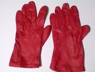 Women's Med. Red Leather Hand Gloves/Costume/Cosplay
