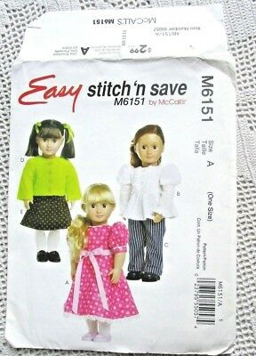 """Sewing Pattern Beginner 18/"""" American Girl My Life Doll Clothes McCalls 7105"""