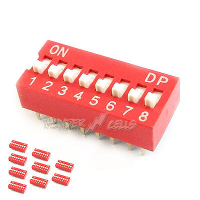 10x 8 Position Way Slide Style DIP Switch 2.54mm Pitch Gold Tone 16 Pin PCB Code
