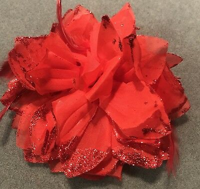 Formal/Races/Bridal Red Silky Fabric Flower Hair Pin/Corsage/Tie/Clip/Brooch