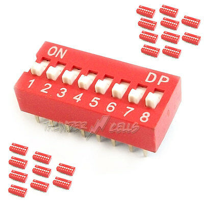 20x 8 Position Way Slide Style DIP Switch 2.54mm Pitch Gold Tone 16 Pin PCB Code