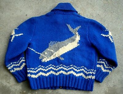 Vintage 50's 60's Fish Cowichan Sweater Blue Hand Knit Wool Zip Up Men's Large
