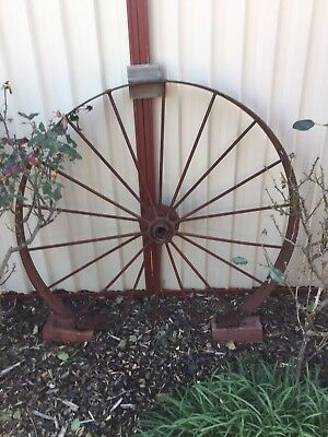 Vintage Cast Iron Large Wheel In Good Original Condition.