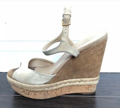 f3b739348c12 GUCCI GG Tan Suede Espadrille Wedges Sandals