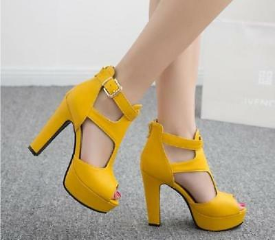 New womens hollow open toe high heels platform shoes buckle pu leather sandals