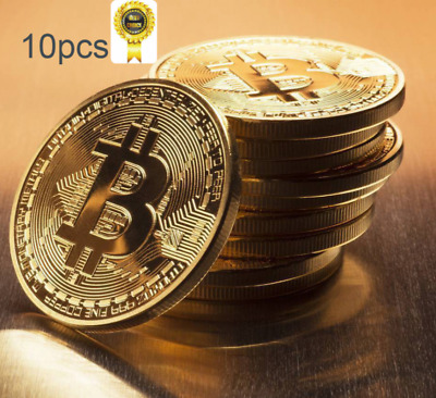 Gold Plated Bitcoin Coin Collectible Gift BTC Iron Coin Collection Pack of 10