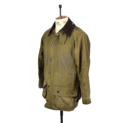 Men's BARBOUR BEAUFORT Olive Green WAXED COTTON Sports Farmer Shooting Jacket M