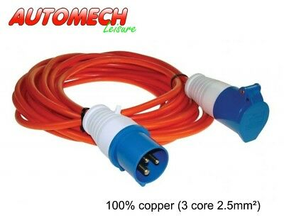 Quality 10 mtr Caravan Mains Cable/Lead + Fittings 16Amp/230V, 3 core 2.5mm²