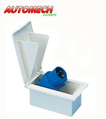 Flush Fitting 240V 3 Pin Mains Inlet Box Suitable For Caravan Motorhome