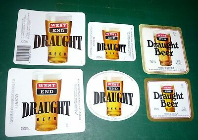 Collectable beer labels -  Set of 8 West End Draught 375/750ml beer labels MINT