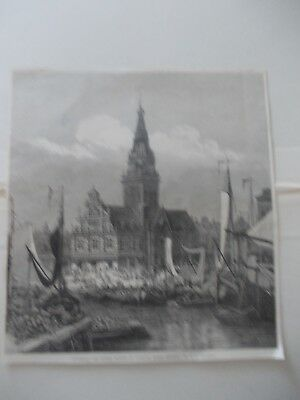 1870 Europe Holland Alkmaar Townhall Market Architecture Antique Print