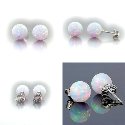 1 Pair Womens 925 STERLING SILVER STUD SPARKLING EARRINGS Round Bling CRYSTAL