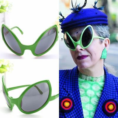 Green Close Encounter Alien Costume Glasses Sunglasses UFO ET Mirrored Bug Eyes