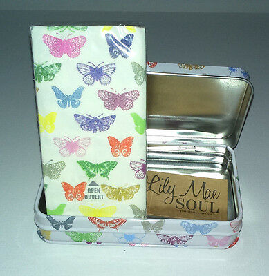 Butterflies POCKET TISSUES TIN 10 Pack Paper WHITE MULTI Lily Mae Soul UK GIFT