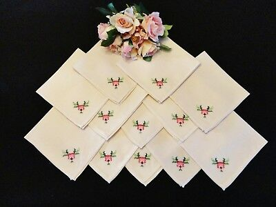 Bulk Vintage and Old Napkins in Ecru Shades  12 Pieces