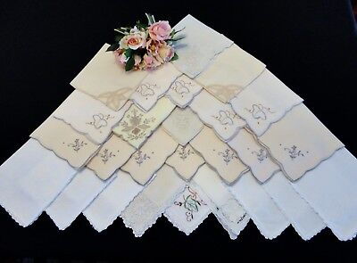 26 Vintage and Old Napkins in White & Ecru Shades