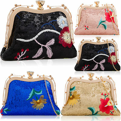 Sequin Women Satin Clutch Bag Bridal Wedding Evening Ladies Prom Parties Handbag