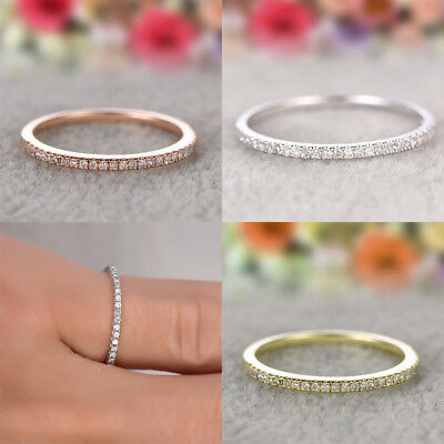 Women Silver Gold Simple Cubic Zirconia Midi Finger Ring Toe Knuckle Top Gift