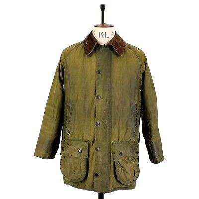 Men's BARBOUR BEAUFORT Olive Green WAXED COTTON Sports Farmer Shooting Jacket 38