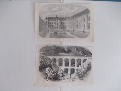 1870 Lots of 2 Architecture Engraving Antique Print # 5
