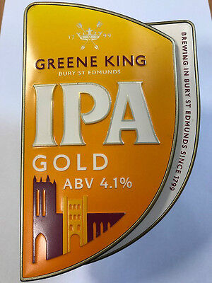 Beer Pump Clip - GREENE KING IPA GOLD - With Clamp Fitting