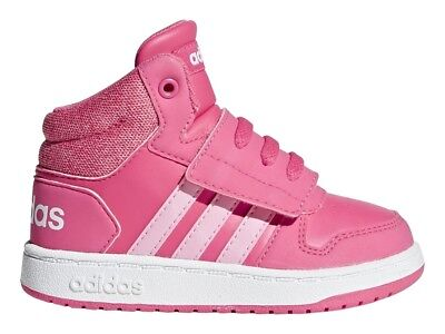 Scarpe Adidas Hoops Mid 2.0 AH2403 Bambina Sneakers Alte Sport Pelle Rosa  Nuovo 5273d92be33