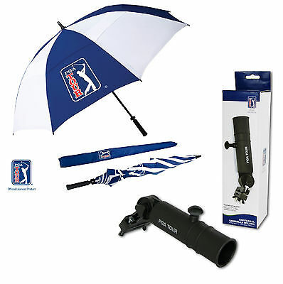 PGA TOUR Large Umbrella AND Holder Universal Clamp Holder - Fits Any Trolley