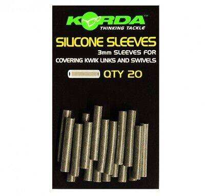 Korda 3mm Silicone Sleeves Pack of 20 Camo Green Muddy Brown Fishing