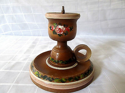 Antique Very Rare Old Wooden Candlestick Candle Holder